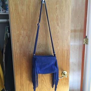 LF bright cobalt blue fringe cross body bag